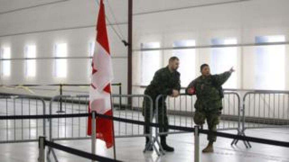 Canadian military at airport in Ontario