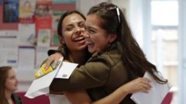 Women celebrate their A-level results