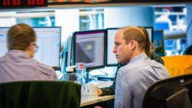 The Duke of Cambridge in a main operations room in GCHQ during his attachment to UK security and intelligence agencies
