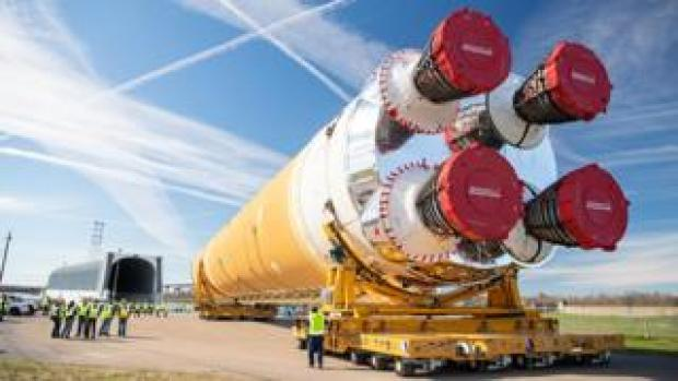 The giant SLS core stage on the move in January from Michoud to Stennis