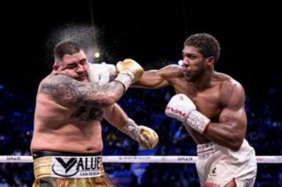 Anthony Joshua punches Andy Ruiz Jr during their world heavyweight title fight at the Diriyah Arena, Saudi Arabia, on 7 December 2019