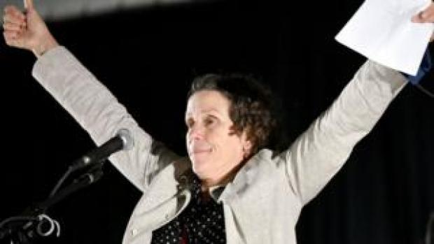 Frances McDormand spoke on stage at the Drive-In Premiere of Nomadland in California this month
