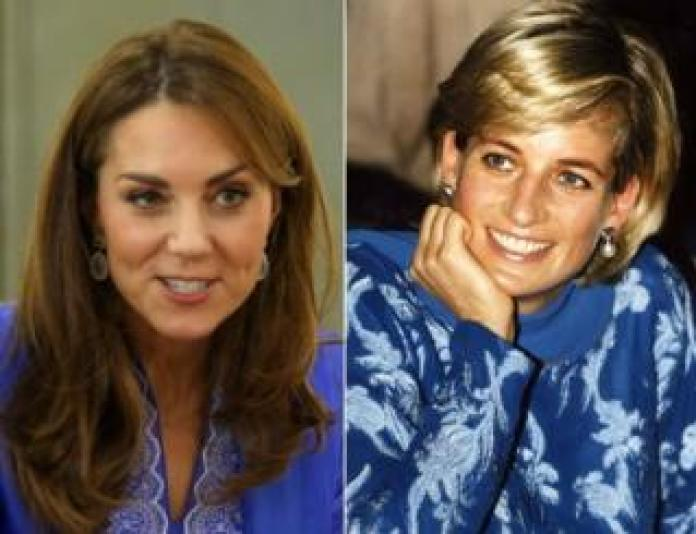 10/15/19 photo file of the Duchess of Cambridge wearing a traditional periwinkle blue kurta by local designer Maheen Khan, during a visit to a school in central Islamabad on the second day of the royal visit to Pakistan, and photo of the file dated 23 / 05/97 of Diana, Princess of Wales, depicted in a royal blue shalwar kameez, during her visit to Lahore, Pakistan.