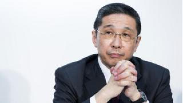 Nissan Motor Co. CEO Hiroto Saikawa listens during a joint news conference with Renault SA and Mitsubishi Motors Corp. on March 12, 2019 in Yokohama. Japan.