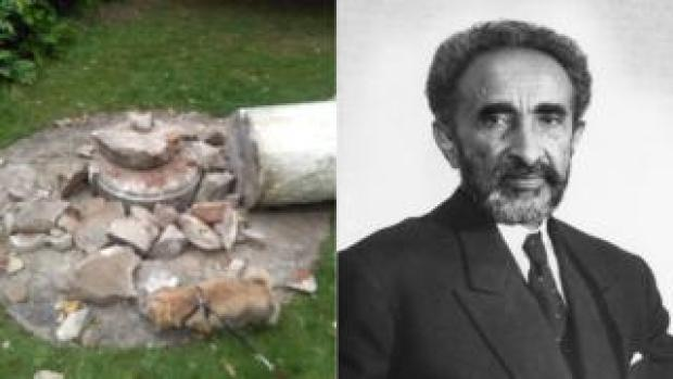 Composite image of broken pieces of a statue of Haile Selassie in Cannizaro Park and a photo of Haile Selassie