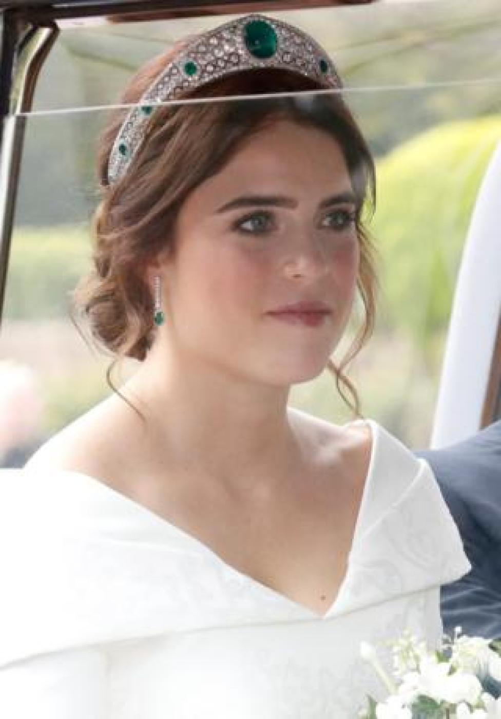NEWS The bride Princess Eugenie of York arrives by car for her wedding