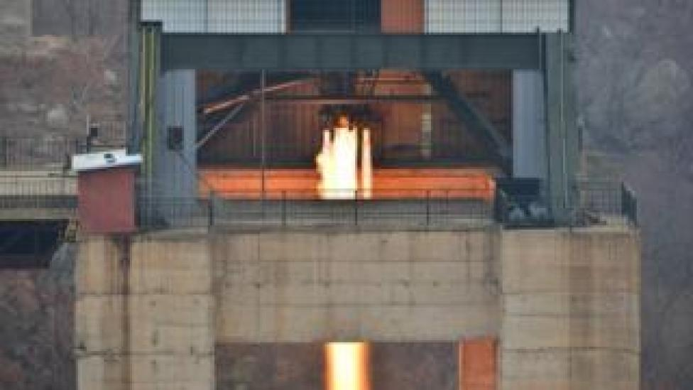 North Korean leader Kim Jong Un watched the ground jet test of a Korean-style high-thrust engine newly developed by the Academy of the National Defence Science