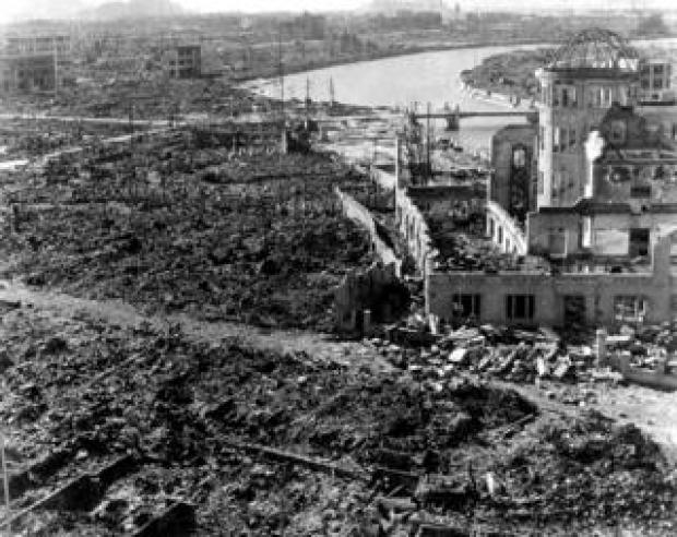 A view of the devastation of Hiroshima after the atomic bomb
