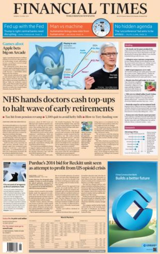 Financial Times front page, 15/4/19