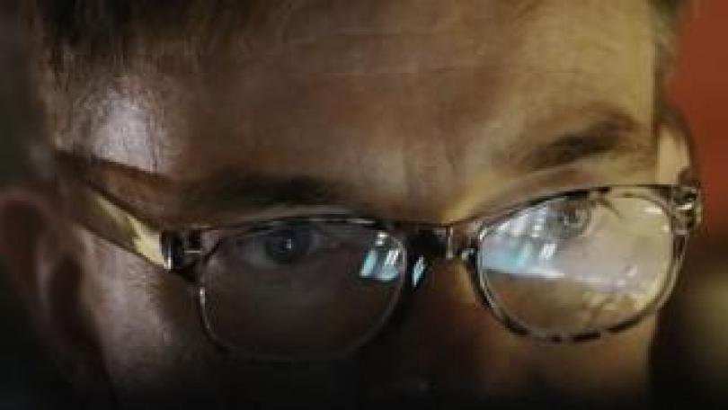 Top of face with a pair of glasses