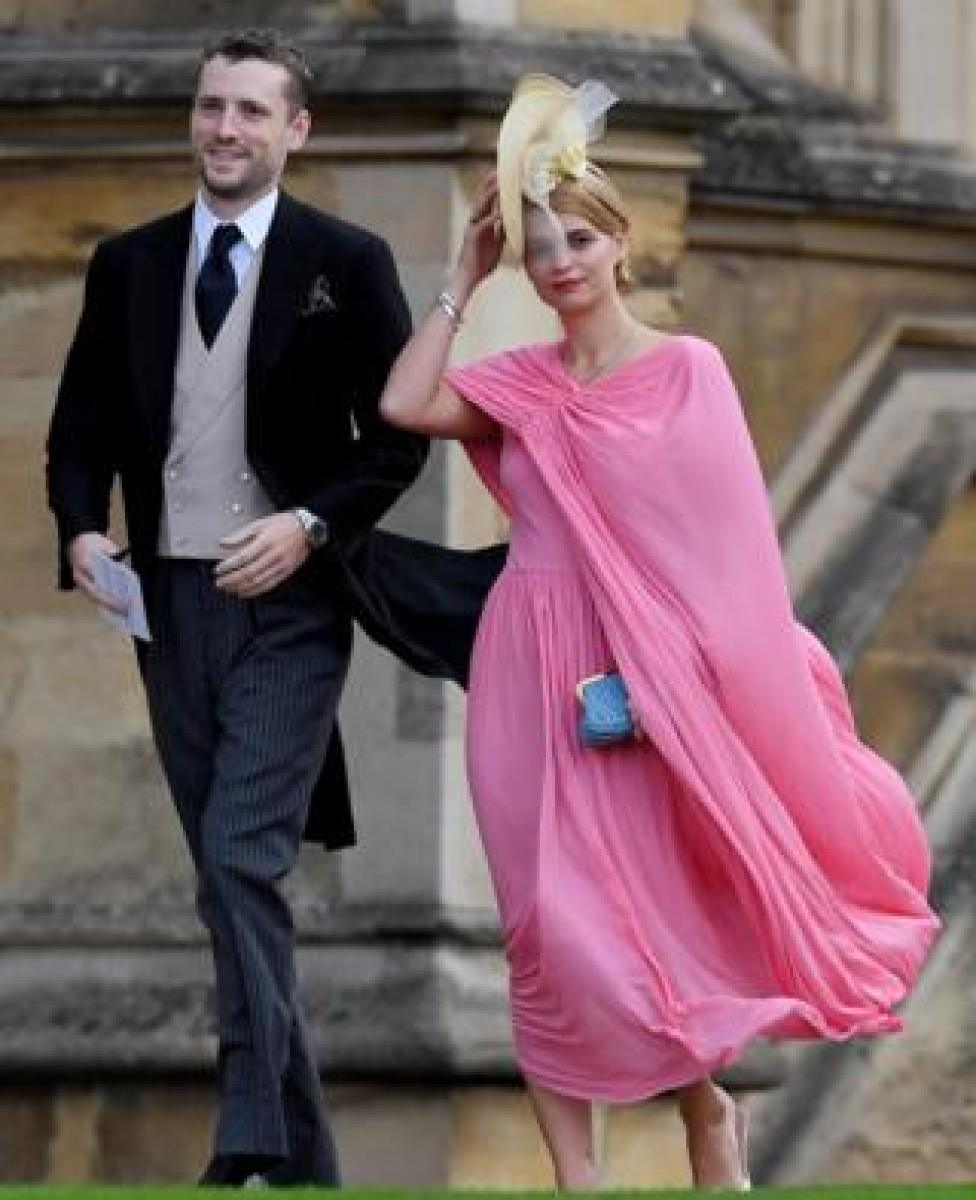 NEWS Guests Pixie Geldof and George Barnett arrive for the wedding of Princess Eugenie and Jack Brooksbank