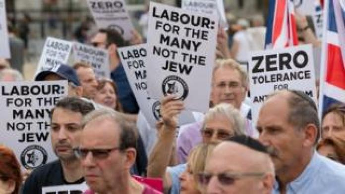 Labour members protesting against anti-Semitism in the party