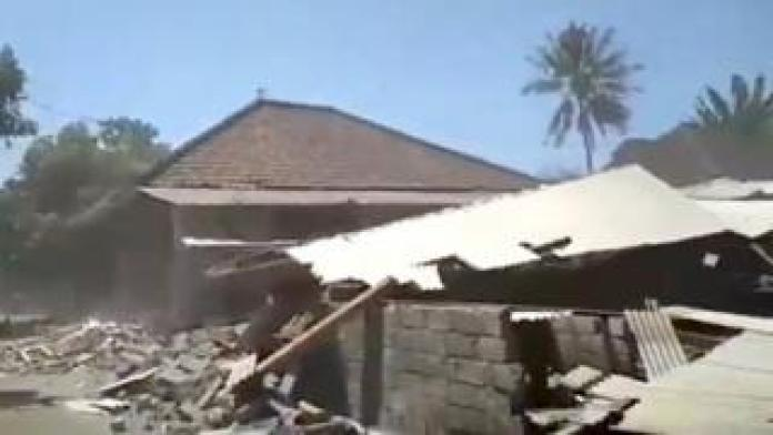 Debris is seen after a building collapsed during an earthquake in Lombok, Indonesia, 19 August