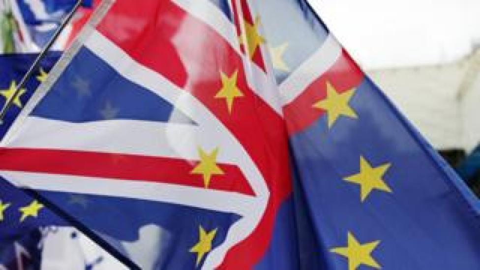 A flag containing both the Union Jack and EU flag