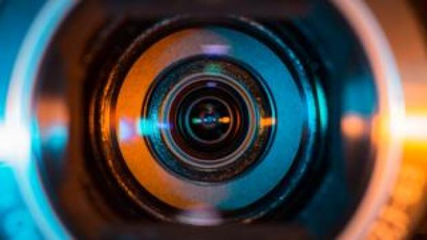 The lens of a video camera