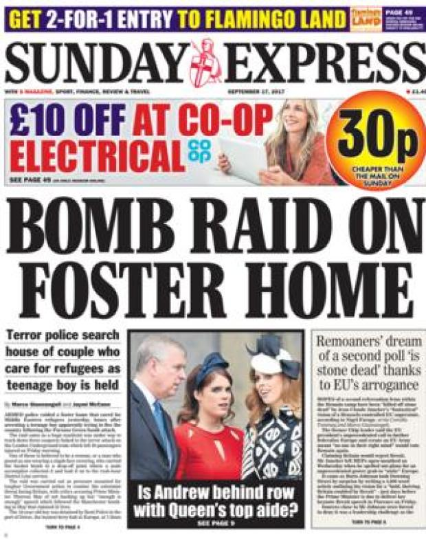 Sunday Express front page 17/09/2017