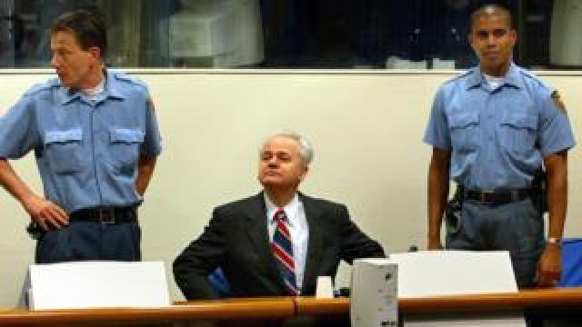 Serb leader Slobodan Milosevic at the ICTY in 2002