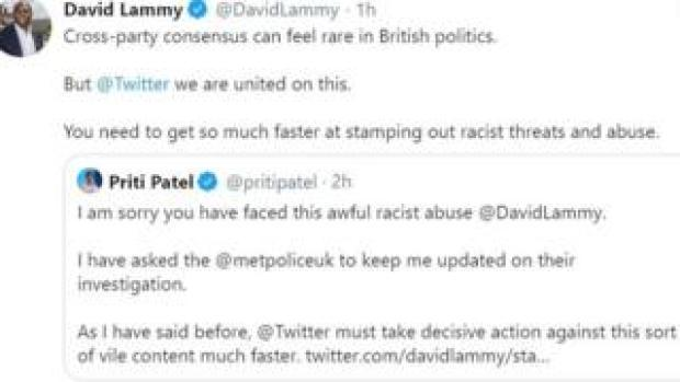 Messages posted on Twitter by David Lammy and Priti Patel