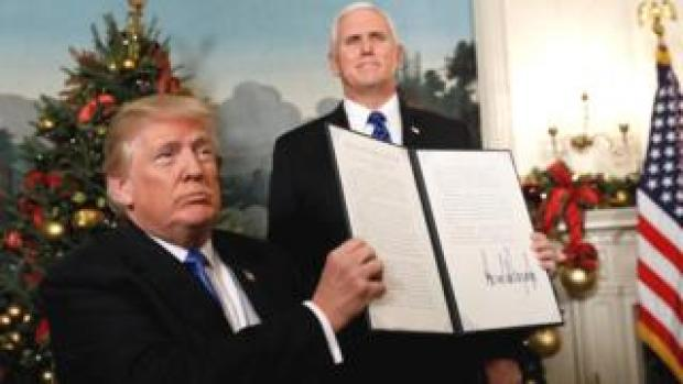 Donald Trump brandit la déclaration de reconnaissance de Jérusalem comme capitale d'Israël