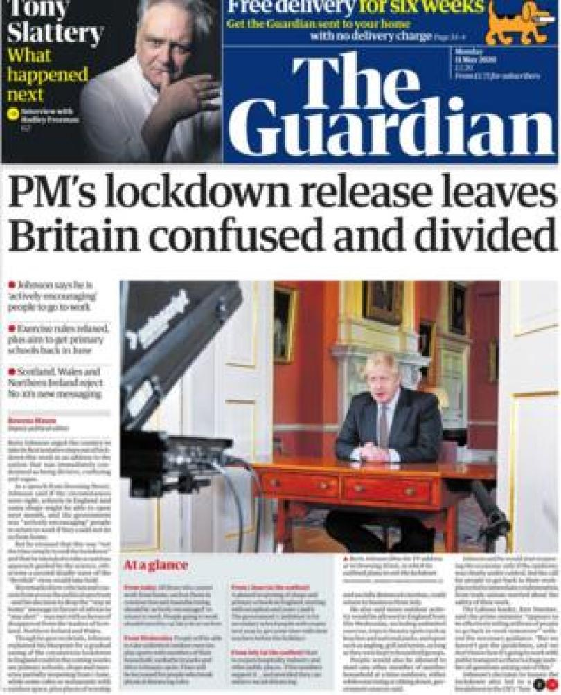 The Guardian front page 11 May