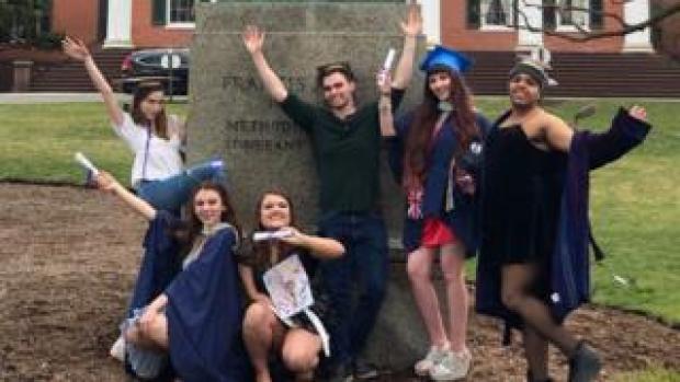 "Students pose at their ""mock graduation"" at Drew University"