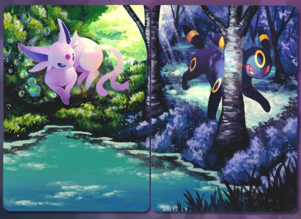 The Umbreon and Espeon cards repainted. The artwork now extends to cover the entire cards, creating a scenic day and night painting with a forest and lake.