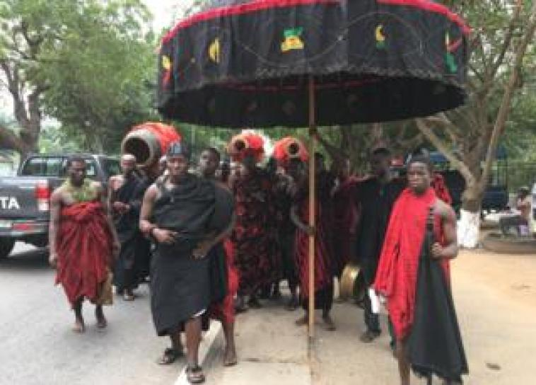 Paramount chiefs' magnificent ceremonial umbrellas at Annan's funeral