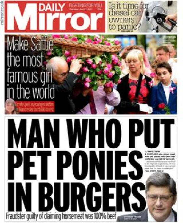 Daily Mirror front page - 27/07/17