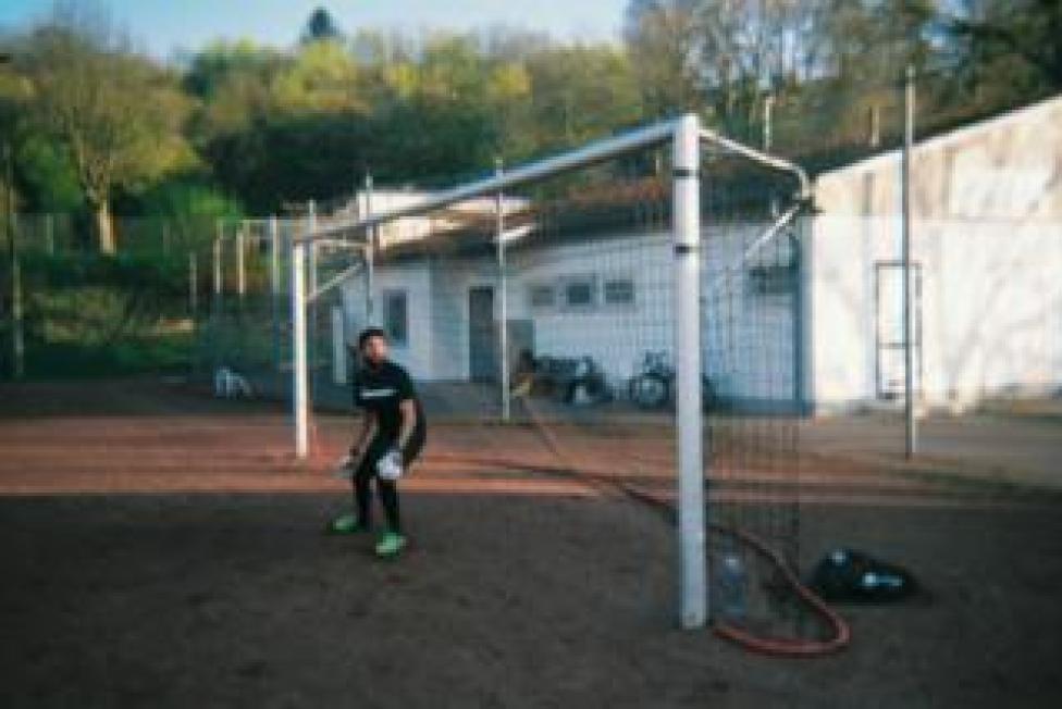 sport A goalkeeper stands in a goal