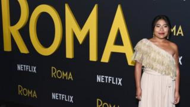 """Actress Yalitza Aparicio arrives at the Los Angeles Premiere of Alfonso Cuaron""""s """"Roma"""" at American Cinematheque""""s Egyptian Theatre on December 10, 2018 in Hollywood, California."""