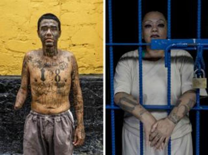 Carlos, surname not given, (38) represents a photograph in Penal San Francisco Gótera, El Salvador. November 8, 2018. Right - Portrait of a gang member at Ilopango Women's Prison, El Salvador. November 6, 2018.
