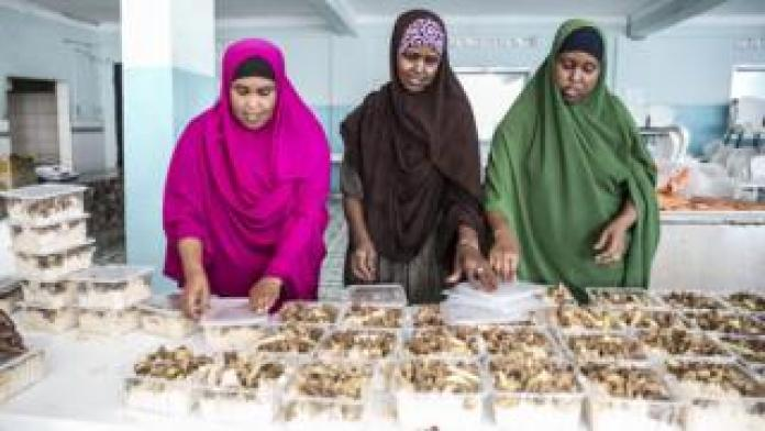 Three somali women putting food into small take away containers - Wednesday 15 May