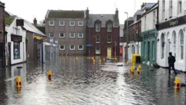 Stonehaven in Aberdeenshire saw flooding overnight