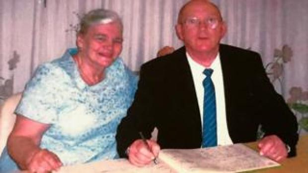 Cathy and Nigel on their wedding day in 2003
