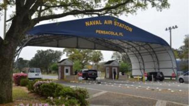 The main gate at Naval Air Station Pensacola, Florida, US, 2016