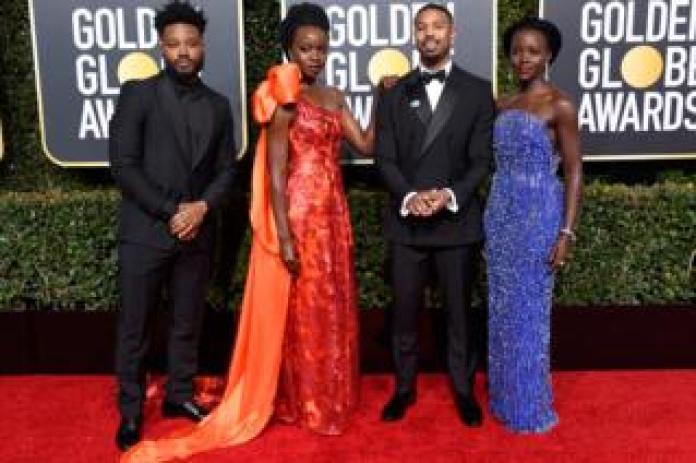 Black Panther stars Ryan Coogler, Danai Gurira, Michael B. Jordan, and Lupita Nyong'o