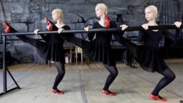 Triplet sisters Natalia, Irina and Tatiana Mironenko