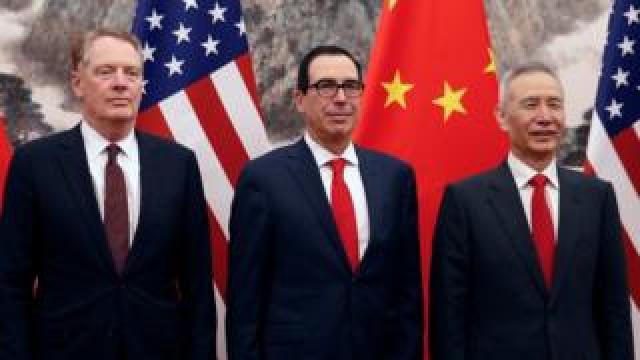 Vice Premier Liu He (right) with U.S. Treasury Secretary Steven Mnuchin, center, and U.S. Trade Representative Robert Lighthizer earlier this month