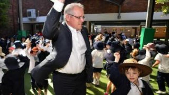 Prime Minister Scott Morrison visits the Catholic Primary School in Galilee, Sydney, Australia on September 21, 2018.