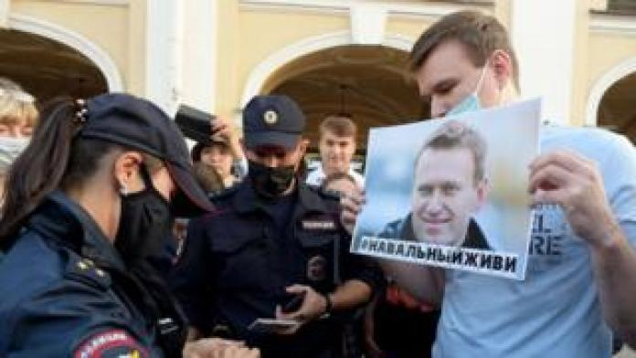A rally expressed support for Mr Navalny who is unconscious