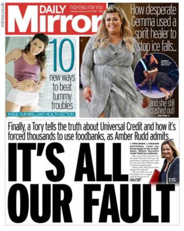 Daily Mirror front page 12/02/19