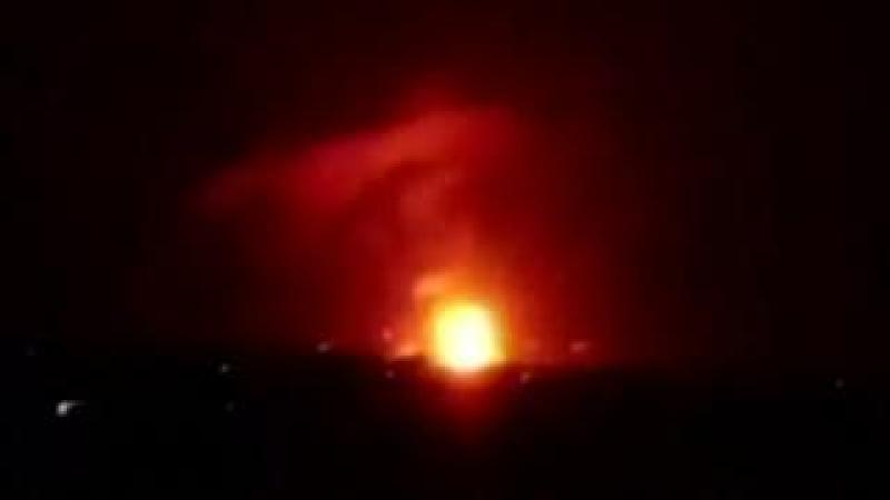An explosion seen near the Syrian capital of Damascus, 2 September 2018