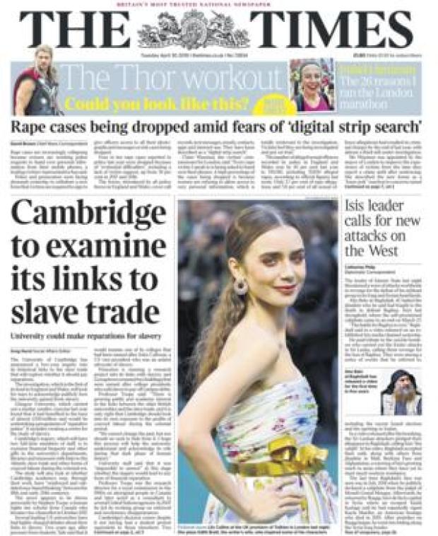 Times front page - 30/04/19