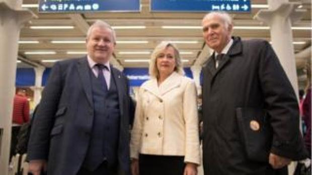 SNP Westminster leader Ian Blackford, Plaid Cymru Westminster leader Liz Saville-Roberts and Liberal Democrats leader Vince Cable at St Pancras station before heading to Brussels