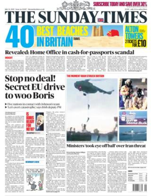 Front page of the Sunday Times
