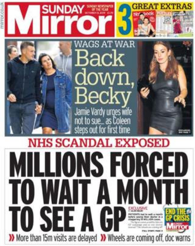 Front page of the Sunday Mirror on 13 October 2019