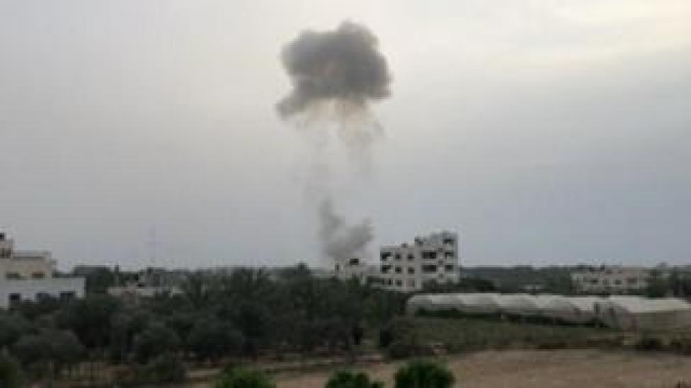 TV footage of smoke from Gaza explosion. 5 May 2018