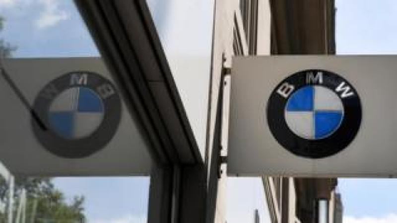 BMW logo reflected