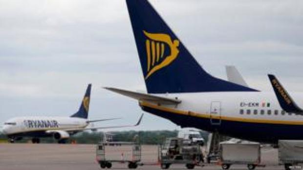 A Ryanair aircraft is parked at Manchester Airport in Manchester, north-west England, Britain, May 26, 2015.