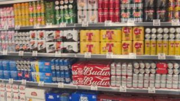 supermarket beer display